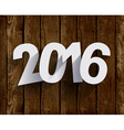 2016 White Paper Origami Happy New Year card on vector image