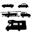 Transportation icons collection car silhouettes vector image