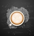 coffee latte on background Planet earth travel the vector image
