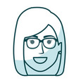 Beautiful and young woman head with glasses vector image