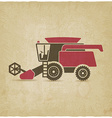 combine harvester farm machinery old background vector image