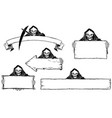hand drawing set of halloween frames with grim vector image
