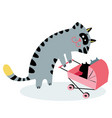 mom cat with kittens in a stroller cat cute vector image