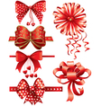 Red bows with hearts vector image
