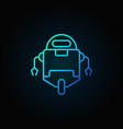 robot blue icon in thin line style on dark vector image