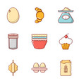 rural food icons set flat style vector image