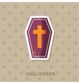 Coffin icon Halloween sticker vector image