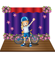 A stage with a female biker in the center vector image
