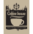 cup of coffee and the old town with a street lamp vector image vector image