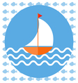 Abstract with a boat on blue water with wavess 4 vector image