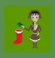 flat shading style icon christmas girl gifts vector image