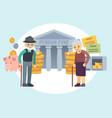 happy senior old people saving pension money vector image