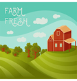 rural landscape with farmhouse fields and trees vector image