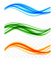 abstract soft colorful wavy lines set vector image