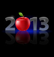 twenty thirteen year red apple on black vector image