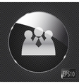 Glass social network button icon on metal vector image vector image