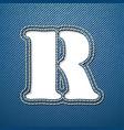Denim jeans letter R vector image