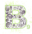 ink hand drawn fruits and veggies vitamin b9 vector image