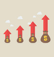 money bags with growth arrows vector image