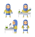 Set of Scientist Characters in Lab Flat Style vector image