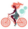 Silhouette of beautiful girl on bicycle vector image