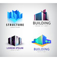 set of building logos company icons vector image