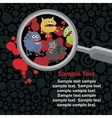 Magnifying glass and microbes in it vector image