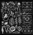 hand-drawn floral big set with wild flowers vector image vector image