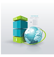 Modern Design template Infographic with Blue Globe vector image