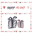 gift boxes banner simple freehand drawing vector image