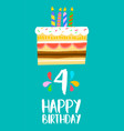 happy birthday cake card for 4 four year party vector image