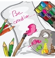 paper pencils and paints - hand drawn vector image