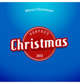 Red Christmas label on blue background vector image