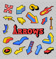 stickers arrows different arrows in comic style vector image