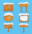 wooden signs with snow winter billboard banner vector image