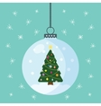 Christmas globe with a tree inside vector image
