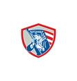 American Patriot Soldier Waving Flag Shield vector image vector image