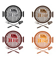 set of bbq labels design template vector image