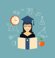 flat elements of education with girl vector image