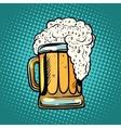 foamy mug of beer pop art retro vector image