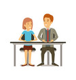 colorful silhouette of teamwork of woman and man vector image