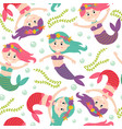 seamless pattern with mermaid vector image