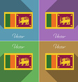 Flags Sri Lanka Set of colors flat design and long vector image