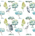 Watercolor herons and trees patterns vector image