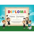 School Kids Diploma certificate background design vector image