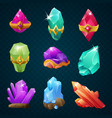 set of colorful magic energy gems gemstones with vector image
