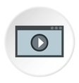 Video player icon flat style vector image