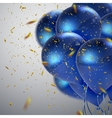 Blue balloons and golden confetti vector image
