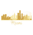 Miami City skyline golden silhouette vector image