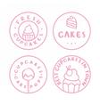 Bakery cake cafe badges vector image